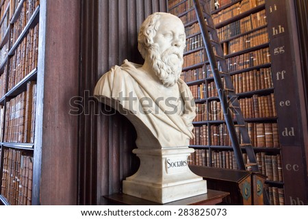 DUBLIN, IRELAND - FEB 15: Sculpture of Socrates in Trinity College Library on Feb 15, 2014 in Dublin, Ireland. Trinity College Library is the largest library in Ireland and home to The Book of Kells. - stock photo