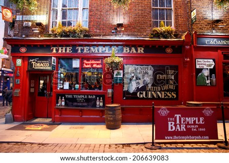 DUBLIN, IRELAND - FEB 15: Street scene in Dublin, Ireland on Feb 15, 2014. Temple Bar historic district is known as Dublins cultural quarter with lively nightlife.  - stock photo