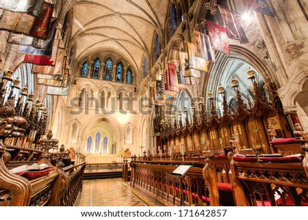 DUBLIN, IRELAND -Â?Â? JANUARY 12, 2014: Interior of St. Patrick's cathedral. - stock photo