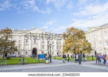 Dublin, Ireland - Oct 25, 2014: People at Trinity College yard in Dublin, Ireland on October 25, 2014 - stock photo