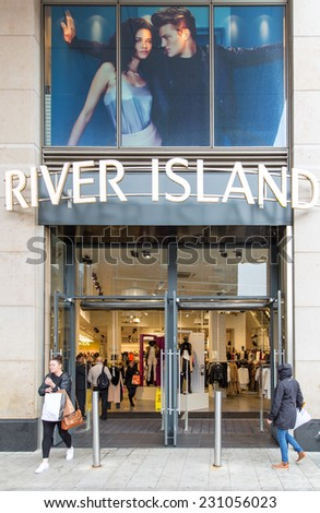 DUBLIN, IRELAND - OCTOBER 3, 2014: A branch of River Island, Galway, Ireland. River Island retails affordable fashion and has 300 stores across the UK, Ireland and internationally. - stock photo