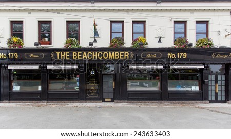 DUBLIN, IRELAND - OCTOBER 3, 2014: The Beachcomber pub. Operated for 50 years by the Duignan family in Killester, the Beachcomber also has a seafood restaurant operated by the Doran family from Howth. - stock photo