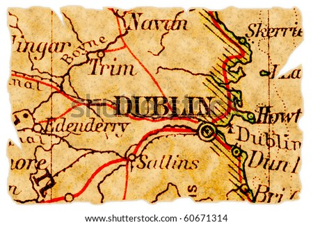 Dublin, Ireland on an old torn map from 1949, isolated. Part of the old map series. - stock photo