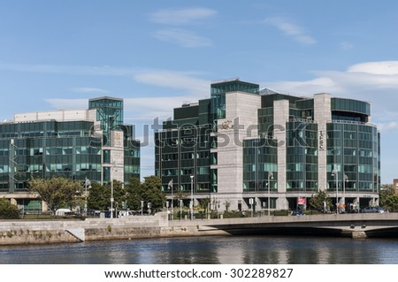 DUBLIN - JUly 31, 2015: Matt Talbot Bridge and International Financial Services Centre.  - stock photo