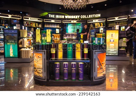 DUBLIN - 19 JULY, 2014: The Irish Whiskey Collection is on display at Dublin Airport on 19 July 2014 in Dublin. In Ireland whiskey is spelled with the letter H. - stock photo