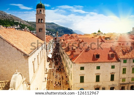 Dubrovnik city - square in front of the main gates on sunny day - stock photo