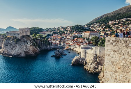 Dubrovnik, Croatia - August 26, 2015. St Lawrence Fortress also known as Fort Lovrijenac seen from the Walls of Dubrovnik - stock photo