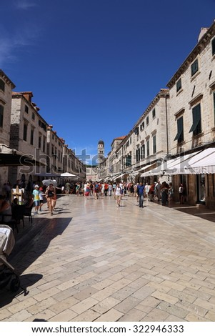 DUBROVNIK, CROATIA - AUGUST 23 2015. The Placa Stradum, or Main Street is busy with shoppers and tourists on AUGUST 23 2015. - stock photo