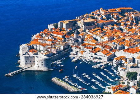 Dubrovnik, Croatia, view overlooking the town. - stock photo