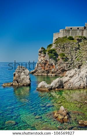 Dubrovnik old city Croatia fortress - stock photo