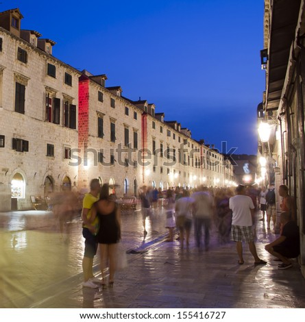 Dubrovnik Old Town, at dusk - stock photo