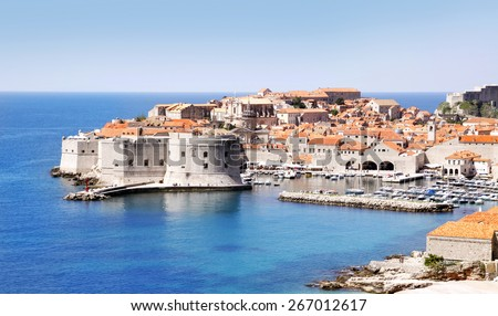 Dubrovnik Old Town & Fortress, East side - stock photo
