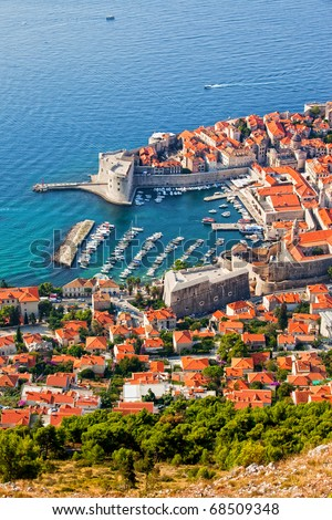 Dubrovnik Old Town on the Adriatic Sea in Croatia, aerial view - stock photo