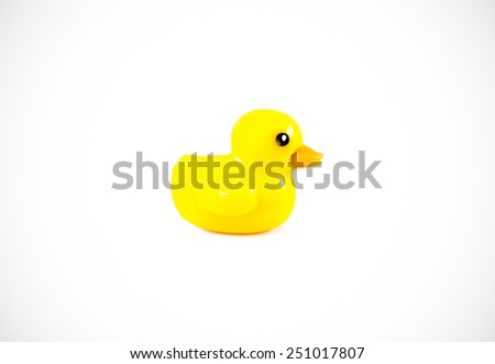 Duck isolated on white background. Toy duck isolated. Plastic toy isolated. Plastic toy on white background. Duck toy for baby. Animal toy isolated. Duck isolated. Yellow duck toy isolated. Duck toy - stock photo