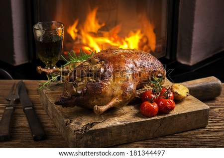 duck roasted  - stock photo