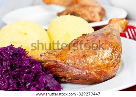 duck with dumplings - stock photo