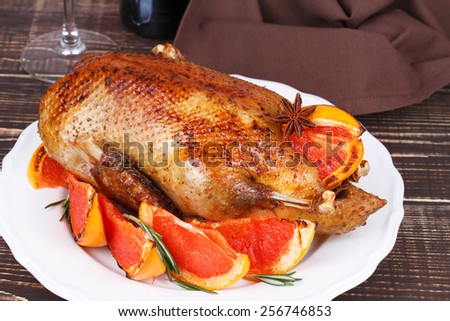 Duck with grapefruits - stock photo