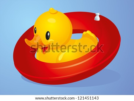 Duck with red inflatable circle - stock photo