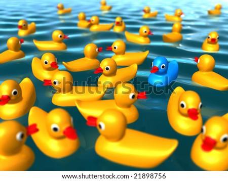 Duckies on the ocean - stock photo