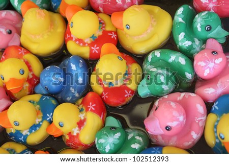 Ducks at a carnival game - stock photo