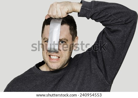 Duct Tape Over Nose - stock photo