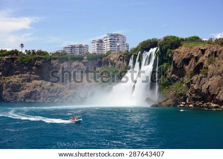 Duden waterfall (Karpuzkaldiran) in Antalya, Turkey  - stock photo