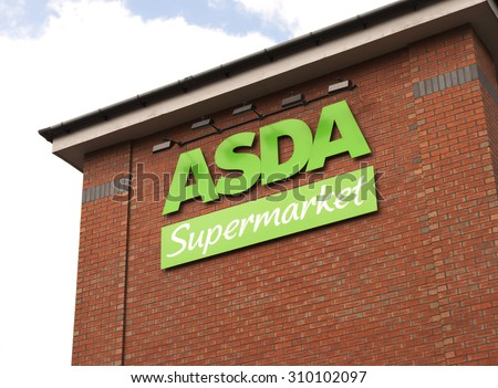 Dudley - August 28th: Asda Store on August 28th 2015 in Dudley, West Midlands, United Kingdom, Great Britain, England, UK. Asda is the UK's second largest chain by market share after Tesco. - stock photo