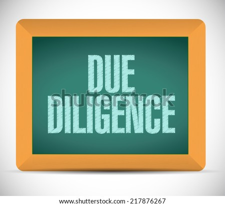 due diligence message illustration design over a white background - stock photo