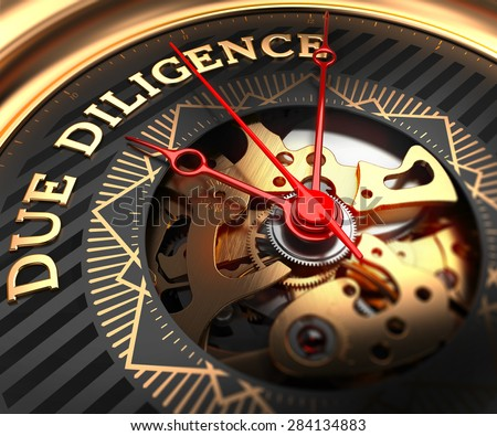 Due Diligence on Black-Golden Watch Face with Closeup View of Watch Mechanism. - stock photo