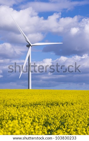 Duel energy conservation / Duel green energy from wind power and biofuel - stock photo