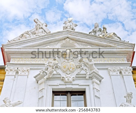 DUERNSTEIN, AUSTRIA - 16 July 2014: Details of the entrance area of the former cloister in Duernstein, which is a landmark of the Wachau, Lower Austria.  - stock photo