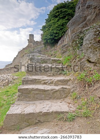 DUERNSTEIN, AUSTRIA - 28 March 2015: Stairway at the castle in Duernstein, which was built in the 12th century. According to legend king Richard the Lionheart was imprisoned in the castle.  - stock photo