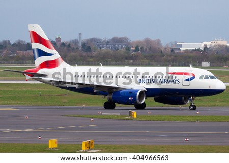 DUESSELDORF, GERMANY - April 4, 2016: British Airways Airbus A319-131 (Registartion:9K-GBB) taxied to RWY 23L at Duesseldorf International Airport (DUS). - stock photo