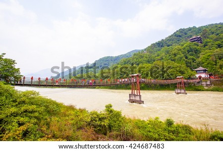 Dujiang Weir sceneery. Dujiang Weir is a water conservancy project in ancient China. Its located in the vicinity of Chengdu.  - stock photo