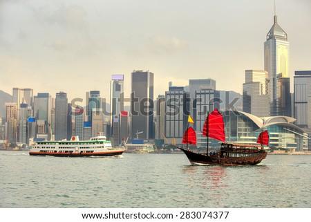 Duk Ling Ride, Traditional wooden sailboat sailing in victoria harbor,Hong Kong - stock photo