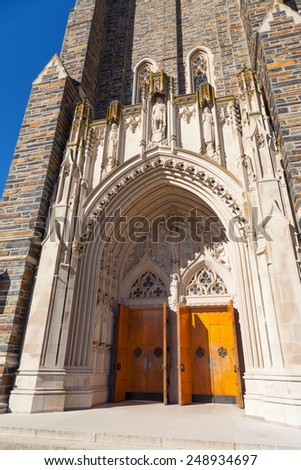 Duke Chapel entrance - stock photo