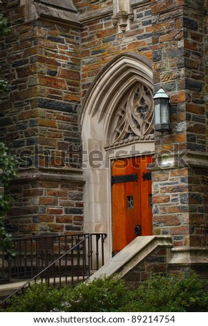 Duke University Chapel Side Door, Durham, North Carolina. - stock photo