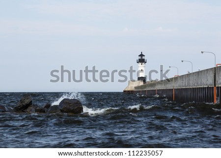 Duluth North Pier Lighthouse - stock photo