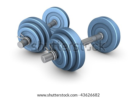 Dumb-bells - Equipment for the weight training - stock photo