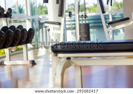 Dumbbell and fitness equipment - stock photo