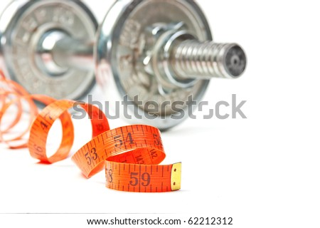 dumbbell and measuring tape  isolated on white - stock photo