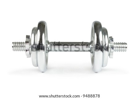 Dumbbell. Isolated on white - stock photo