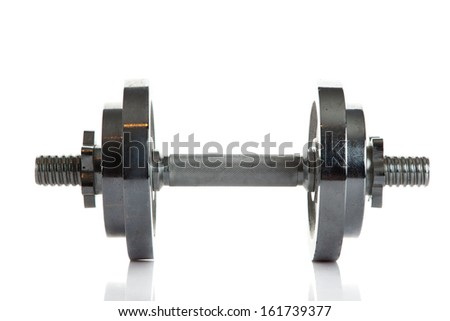 dumbbell isolated on white background - stock photo