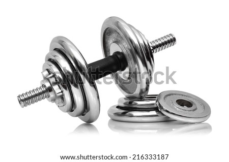 dumbbell on a white background - stock photo