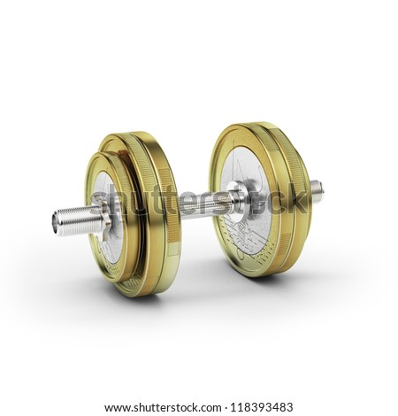 Dumbbell with euro coin - stock photo