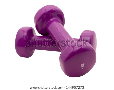 Dumbbells help to keep the body in an excellent form. - stock photo