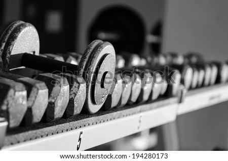 Dumbbells in a gym - stock photo