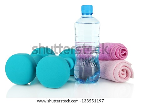 Dumbbells isolated on white - stock photo