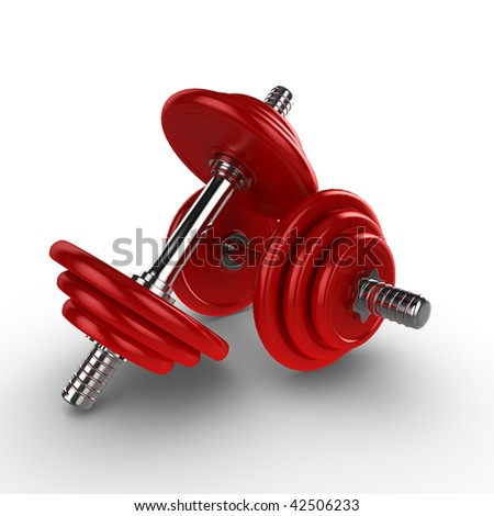 Dumbell weights, isolated on a white background with subtle shadow - stock photo