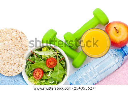 Dumbells, healthy food and towels. Fitness and health. Isolated on white background - stock photo